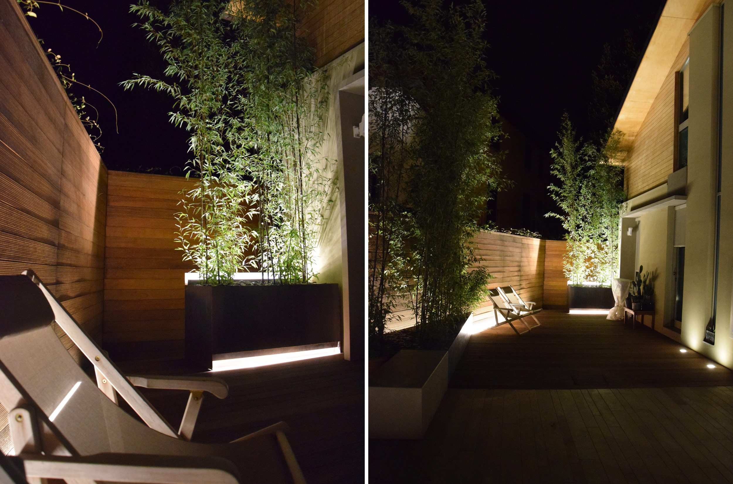 by night, lights, phyllostachys, fioriere, acciaio corten, area living