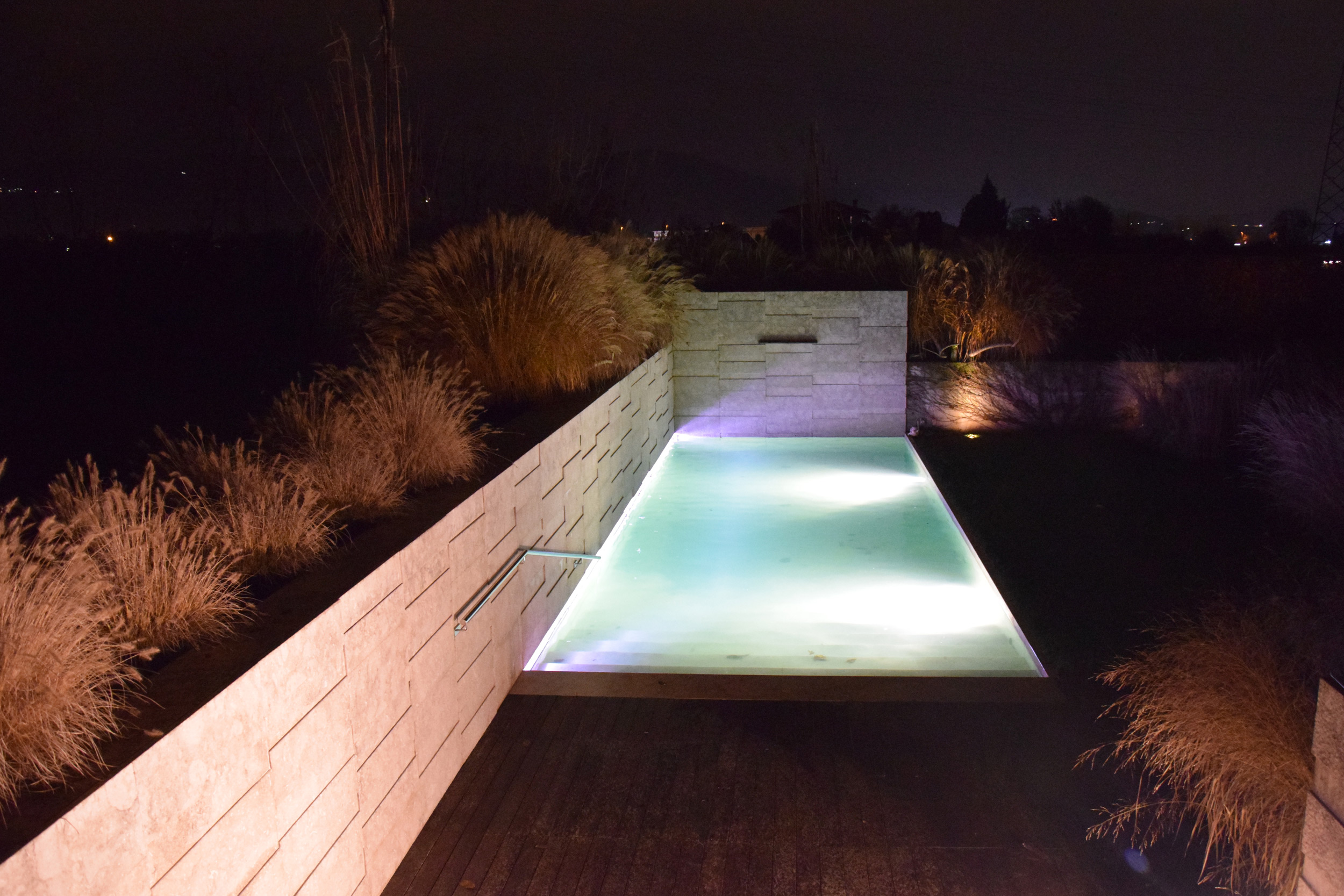 Pennisetum alopecuroides, lights, swimming pool