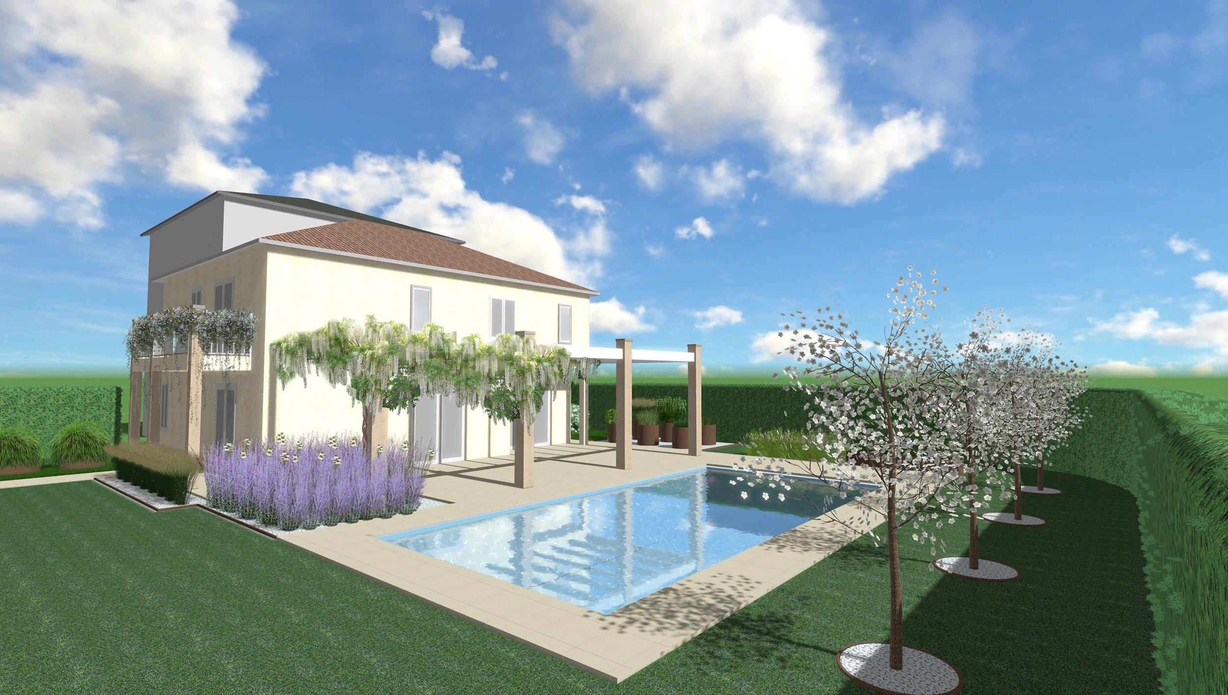 Progetto giardino con piscina latest progetto giardino con piscina with progetto giardino con - Progetto casa moderna ...