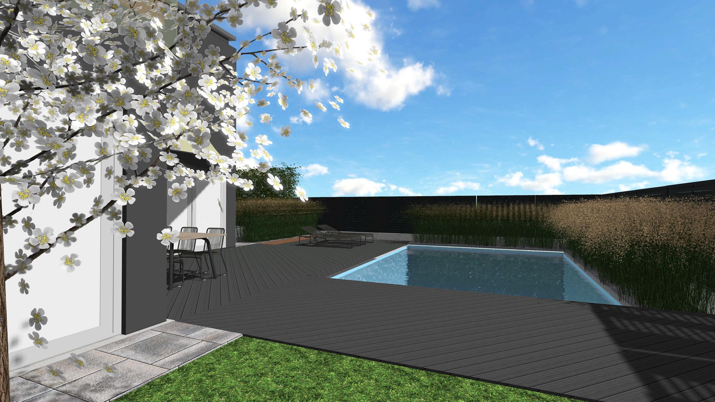 Giardino con piscina rialzata progettazione giardini for Piscina rialzata